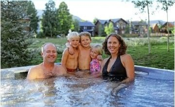 sawyer family in hot tub