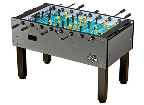 Velocity Silver Foosball Table Full Side View